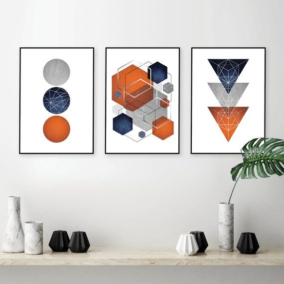 Orange Navy Blue Grey And Silver Printable Art Geometric Abstract Set Of 3 Downloadable Trio Matching Wall Decor Bright Indigo Piece