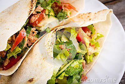 Tuna salad pita sandwich closeup dish meal