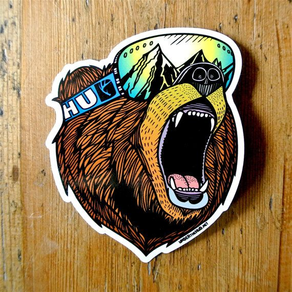 Bear Goggles roaring Grizzly vinyl sticker.  This vinyl art sticker was created from an original hand drawn illustration. It is 100% waterproof and an awesome addition to your snowboard, skis, helmet, laptop or car window. Bear Goggles sticker size 10cm x 8cm Printed using UV stable inks Durable heavy duty waterproof vinyl Strong adhesive backing Stickers posted inside a strong cardboard backed do not bend envelope  Available to buy individually: Full Colour Bear £2.00 Black and White Bear…