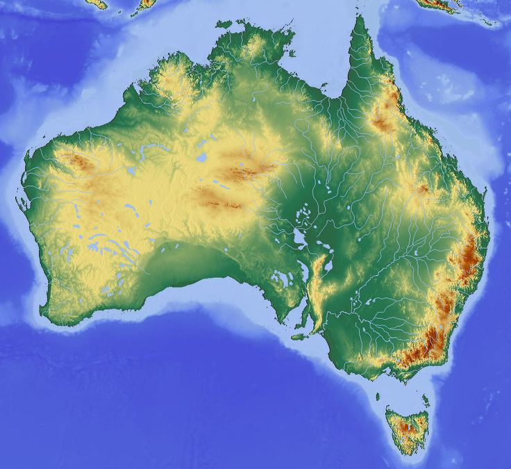 map showing the topography of australia showing some elevation in the west and very high