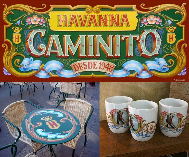 Havanna. Carteles y diseño fileteado para mesas del local en Caminito, Buenos Aires. Alfredo Genovese (2008)