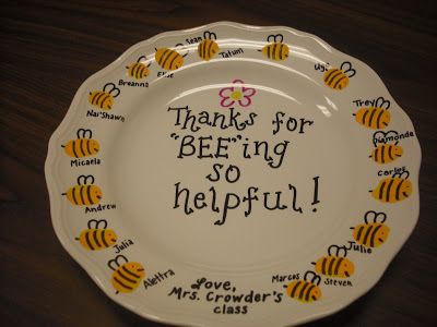end of the year gifts.. plate from dollar store