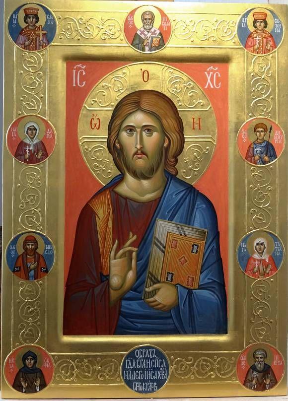 икона Спасителя Пантократор со святыми на пол…, автор Vladimir Guk. Артклуб Gallerix