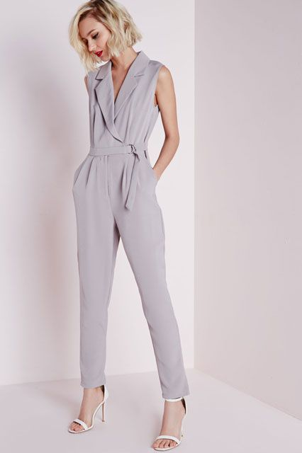 18 Jumpsuits You Can Totally Wear To The Office   Missguided Sleeveless D-Ring Wrap Jumpsuit Grey, $70, available at Missguided.