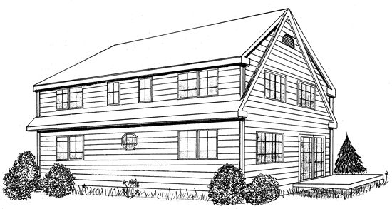 Shed dormer plans free timberframe cape house plan has for House plans with shed dormers