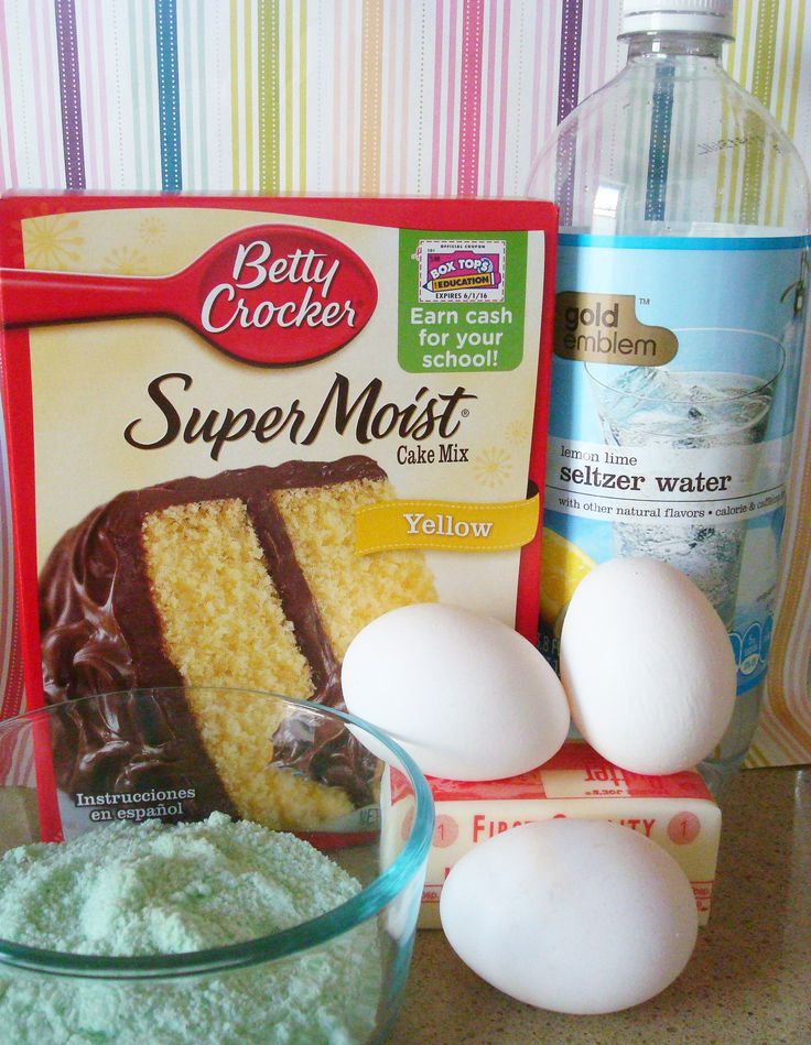 Cake Mix Box, Eggs, Oil and Glass Bowl