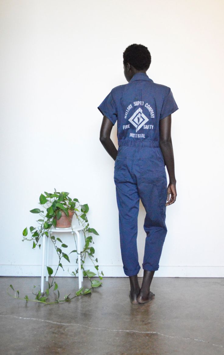 70s COVERALLS / Blue COTTON Coveralls / Work MECHANIC Coverall by shopfuture on Etsy