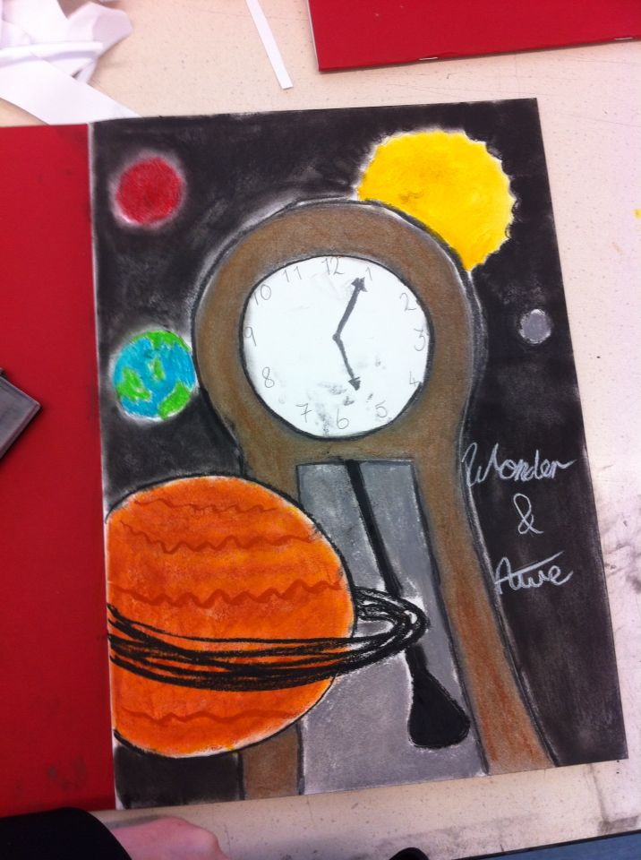 This is a grandfather clock as the centre of the universe with all the planets and the sun orbiting around it to symbolise how time is the one most important thing; how time a large/main feature in all our lives.- created by L.A.Laws