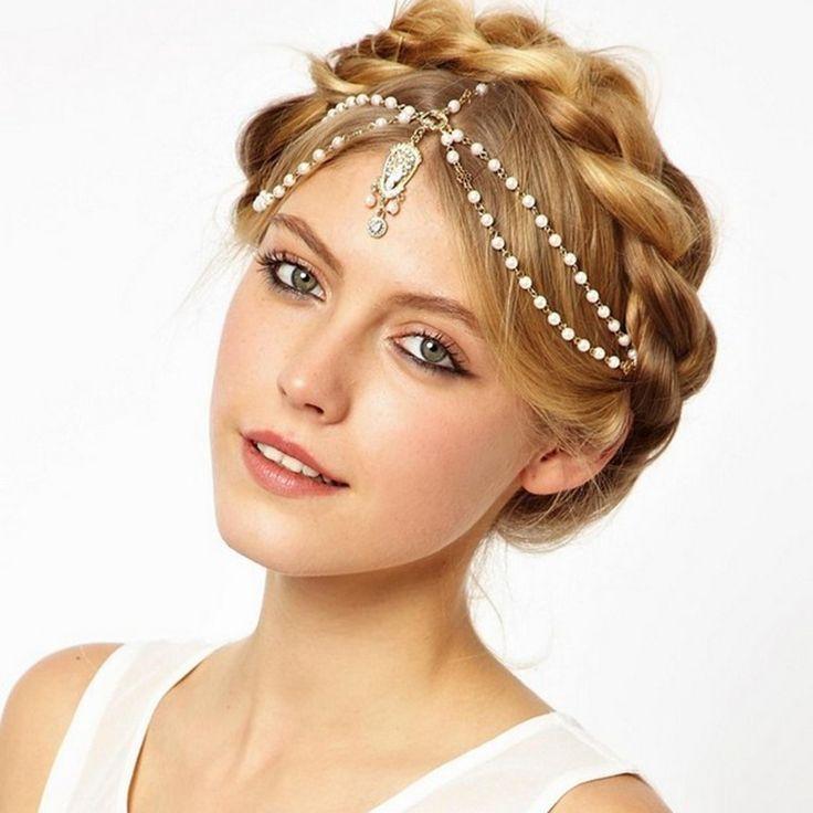 Haar decoratie haarband hoofd jurk hoofdbanden fashion indian boho wit/rood kralen hoofd stuk vrouwen hoofd ketting haar sieraden
