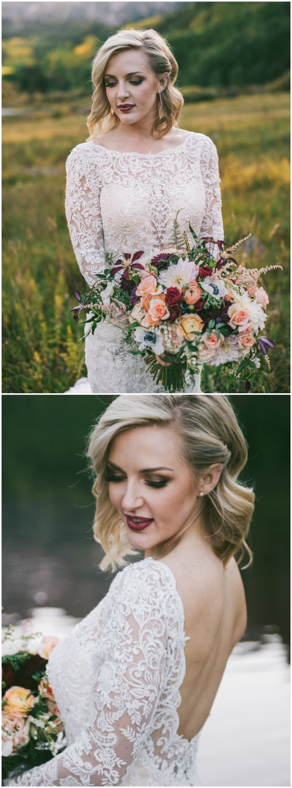 Wedding hairstyle, short bridal hair, curled locks, dark maroon lipstick, smokey eye, lace wedding dress, pin to your own inspiration board // Blue Elephant Photography