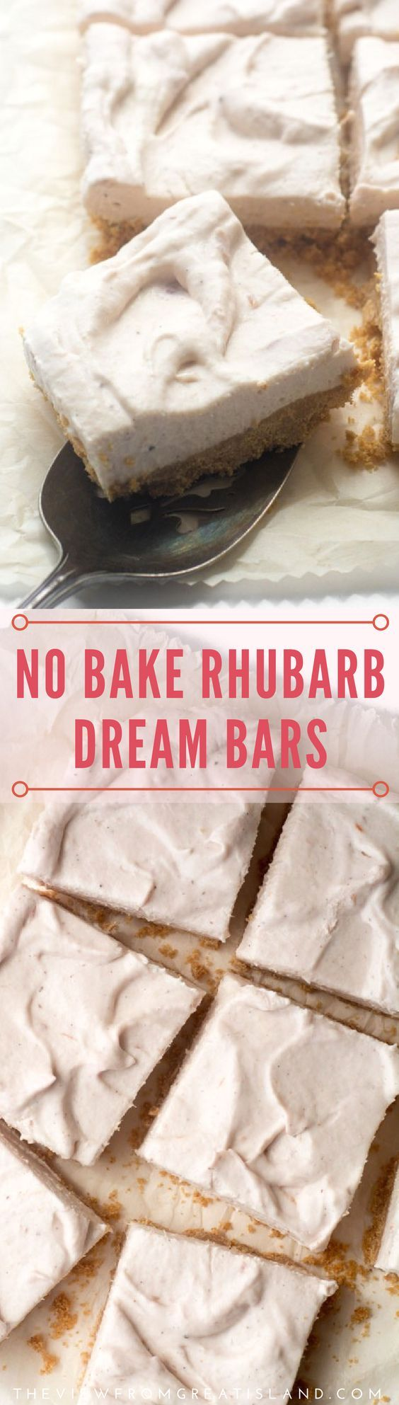 No Bake Rhubarb Dream Bars are light as air treats flushed with a hint of pink from the season's first rhubarb. Eat them chilled, or frozen, it's all good. #rhubarb #rhubarbrecipe #nobakedessert #nobake #springdessert #dessertbars #rhubarbbars #springdessert