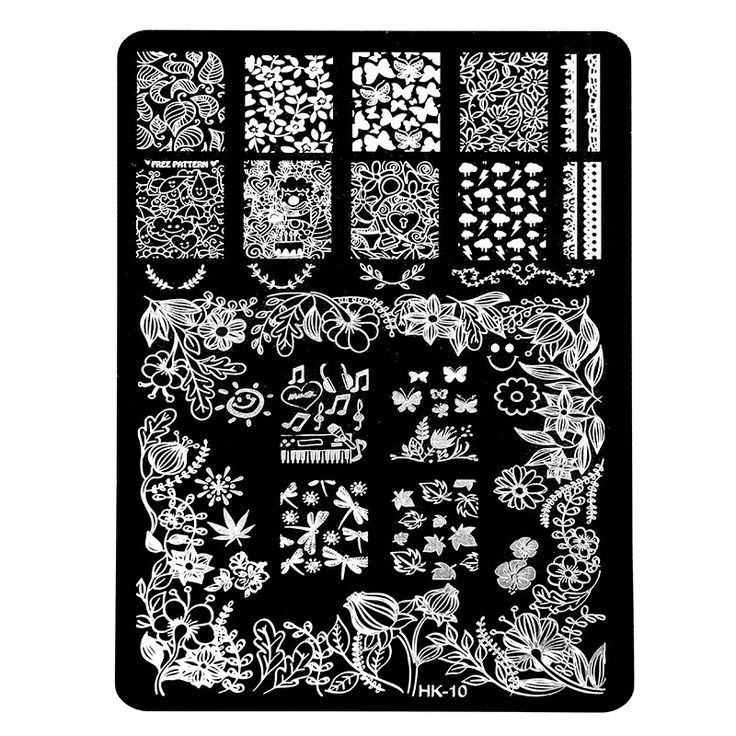 New HK Pretty Nail Art Stamping Templates Stainless Steel  Stencil Halloween Skull Butterfly Design Nail Plates Manicure Tools