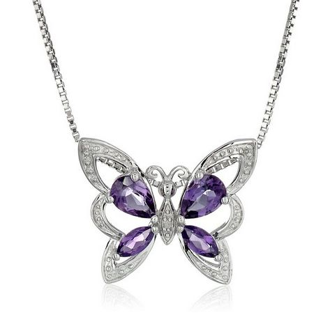 """#Sale 67% OFF Sterling Silver Pear and Marquise-Shape Amethyst and Diamond #Butterfly #Pendant #Necklace (0.01 cttw, I-J Color, I1-I2 Clarity), 18""""  List Price: $110.00 Price: $36.02 & FREE Shipping. FREE Returns. Details You Save: $73.98 (67%) https://www.facebook.com/Buyers.Digest"""