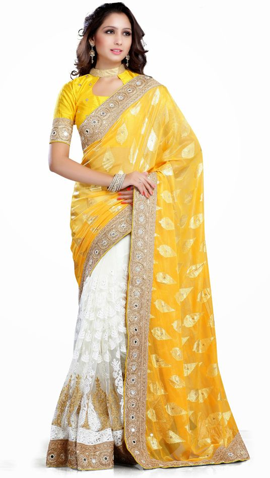 Yellow Soft Net Half and Half Wedding Saree