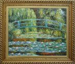 Waterlilies and Japanese Bridge, Monet Oil Painting, with Exquisite Gold Wood Frame 26x30 Inch