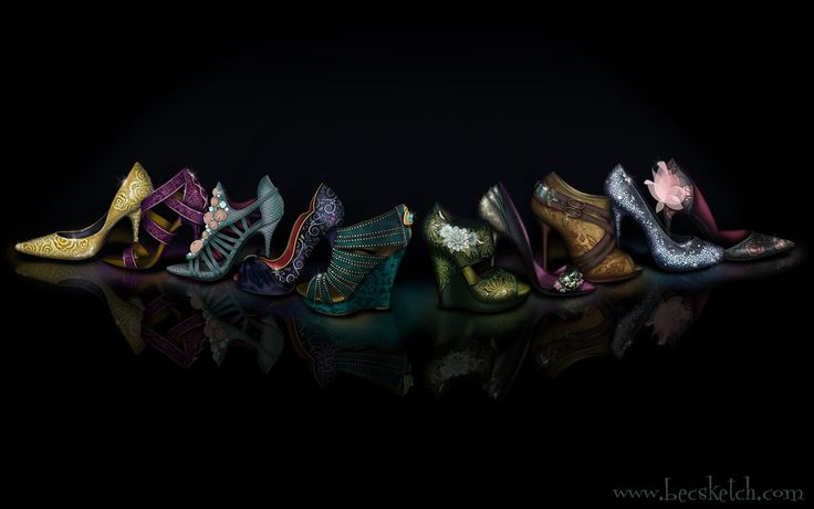 Disney Princess inspired shoes.  From L to R: Belle, Rapunzel, Ariel, Snow White, Jasmine, Tiana, Mulan, Pocahontas, Cinderella, and Sleeping Beauty  Deviant Artist: becsketch