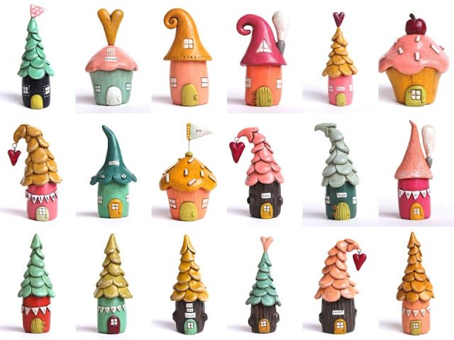 So Adorable - You should make a few for a corner of a shelf just to give you a smile! Springtime -- little polymer clay houses by jessicajanehandmade