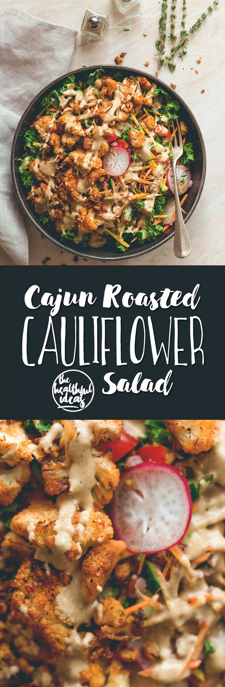 Cajun Roasted Cauliflower Salad - I love cajun seasoning on roasted fall vegetables. This salad is perfect for this time of the year. Cauliflower, mixed salad, and tahini dressing. (vegan, GF) | http://thehealthfulideas.com