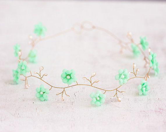 Mint wedding gold headband bridesmaid gift green hair by ArsiArt on Etsy, $53.00
