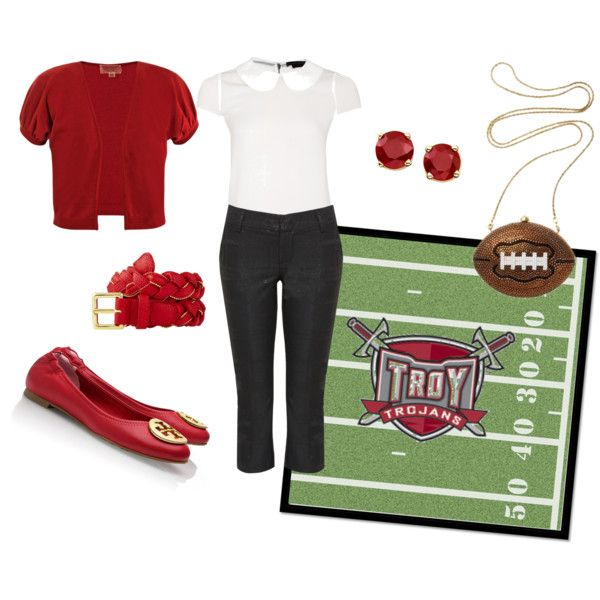 "Another football game day outfit.  Very practical for tailgating with small children.  Go Troy Trojans! ""Game day outfit"" by lizzy0217 on Polyvore"
