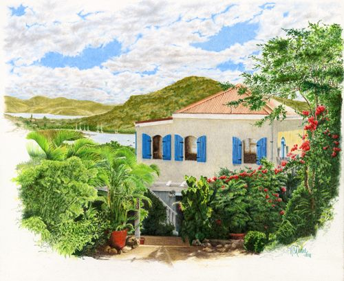 "This is ""The Cottage, St John's, USVI"" and is a painting I did of my brother's home in the U.S. Virgin Islands. The original, of course, hangs in his home. The home is nestled on a hillside overlooking the Bay and is surrounded by Bougainvillea and palms. A very colorful painting done in colored pencil"