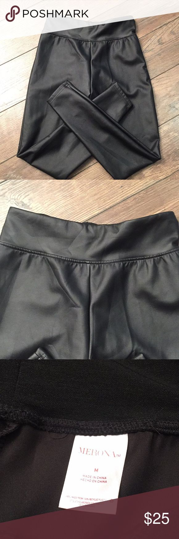 "Medium MERONA Faux Leather Leggings PANTS These are a great looking pair of pants. They are a faux leather fabric. They have a wide band waistline. They measure approx 28"" in the unstretched waist and the inseam measures approx 28"". They are in new condition! Merona Pants Leggings"