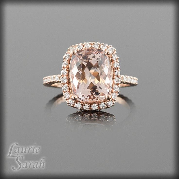 Morganite Ring Cushion Cut Peach Morganite Engagement Ring Rose Gold Morgan