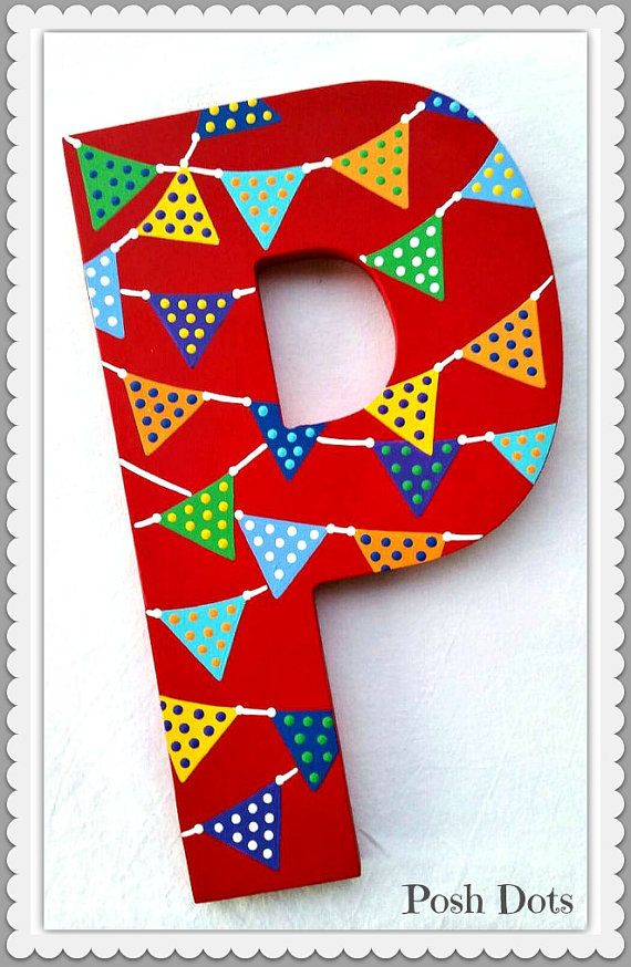 Pennant Flag Custom Painted Decorative Wooden Wall by PoshDots