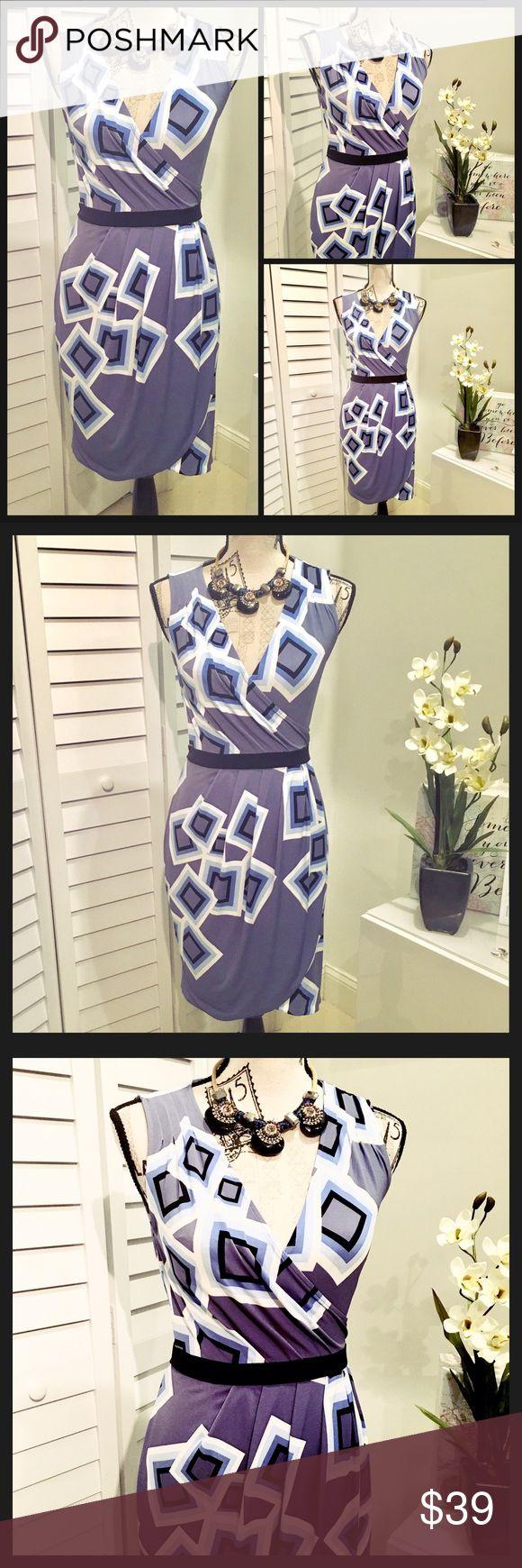 NWT Elegant geometric Print Mini Dress NWT Elegant Geometric print style Mini Dress in different tones of lavender blue, baby blue & Black, this dress is very  pretty & stylish 👗it is right above the knee. New York & Company Dresses Mini