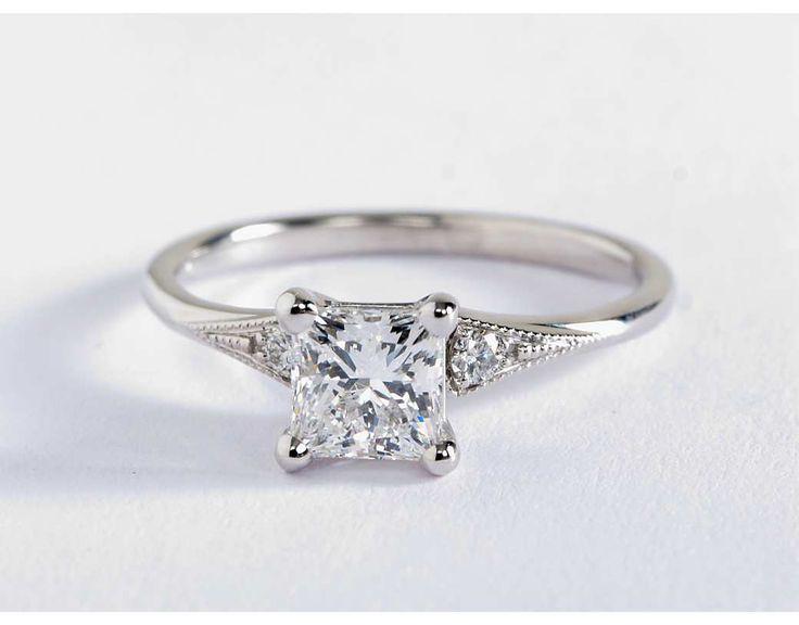 Heirloom Petite Milgrain Engagement Ring in 14k White Gold with princess cut diamond | Blue Nile