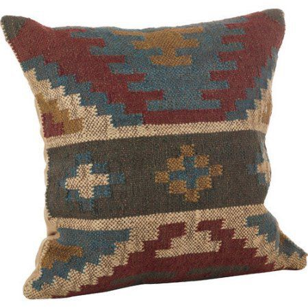 """Kilim design India Wool Square Throw Pillow 20"""" Blue Accent"""