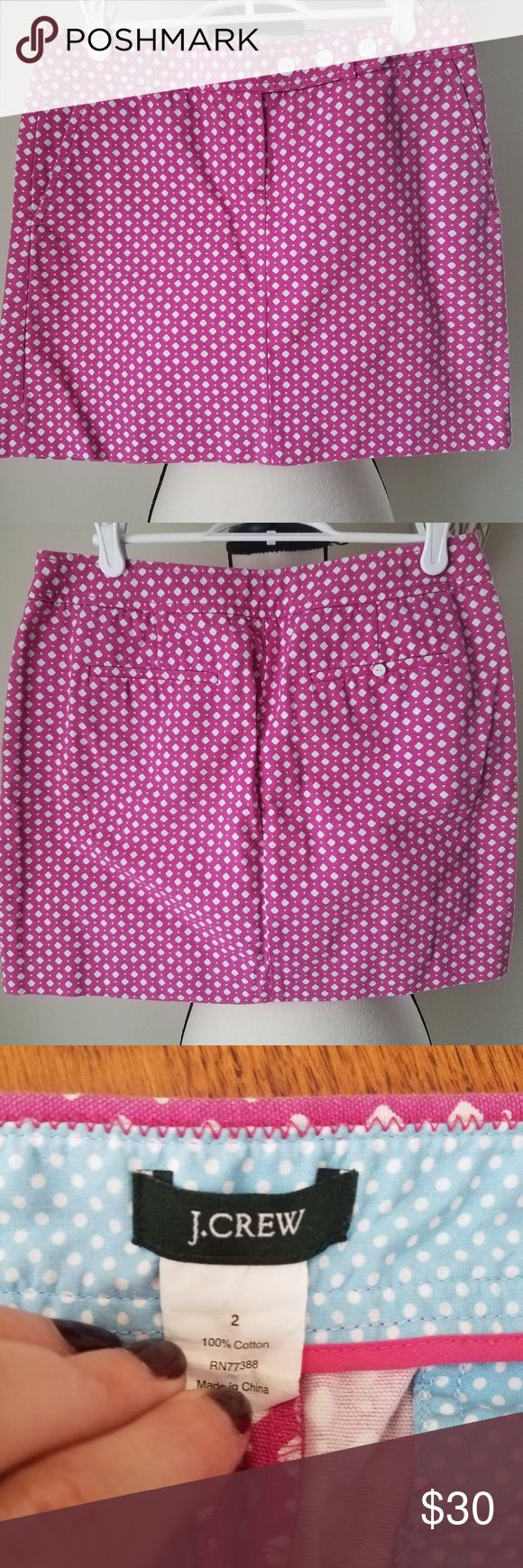 J Crew pink white geometric mini skirt size 2 Pretty pink skirt with white geometric pattern! SIZE: 2 (see pictures for measurements) CONDITION: Pre-owned, excellent condition! No flaws! ZIPPER CONDITION: Works perfectly! PATTERN/COLOR(S): Geometric, pink, white with adorable mother of pearl buttons with an anchor on them! STYLE: Mini skirt  ENVIRONMENT: Smoke-free but pet-friendly FABRIC & CARE: 100% cotton; machine wash cold, tumble dry low, warm iron  STYLING: Polka dot and small floral…