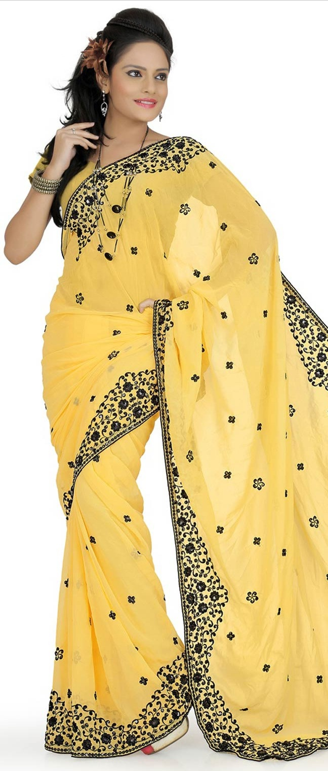 #Yellow Faux georgette #Saree With #Blouse @ $29.89
