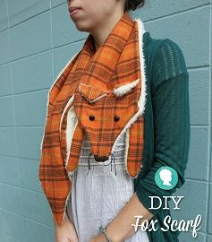 Free pattern: Super cute fleece and flannel fox scarf