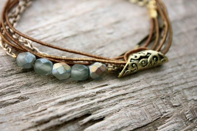 Czech Glass, Silk and Chain Wrap Bracelet £16.00