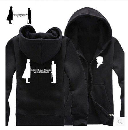 Sherlock plus size zip up hoodies for men long sleeve fleece hooded sweatshirts