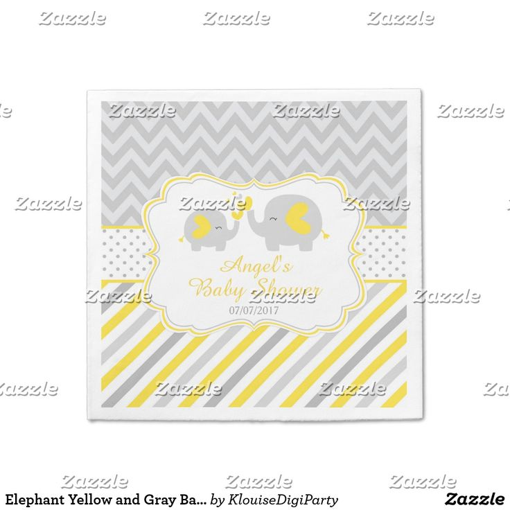 Elephant Yellow and Gray Baby Shower Paper Napkin
