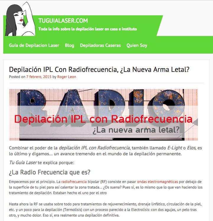 Depilación IPL Con Radiofrecuencia, ¿La Nueva Arma Letal? Combinar dos tratamientos distintos para crear uno nuevo y más potente. Es lo que ofrece depialción IPL + RF. Visita  www.tuguialaser.com y te revelaremos los secretos de este revolucionario sistema de depilación. #Depilacion #IPL #Fotodepilacion #LuzPulsada #Alejandrita #Soprano #Lightsheer #Diodo #Laser #Permanente