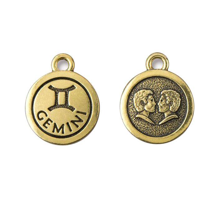 Gemini Charm Antique Gold