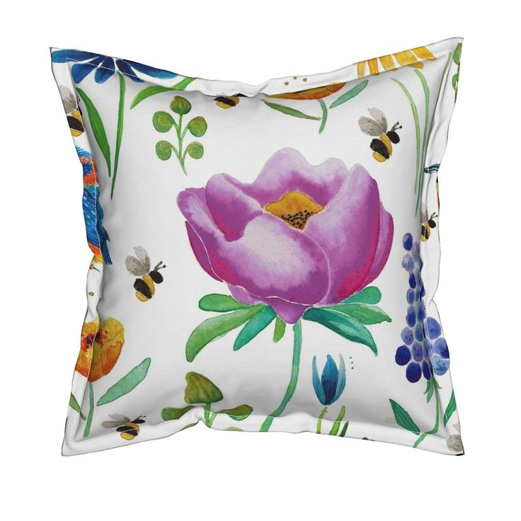 Serama Throw Pillow featuring Floral & Fauna Watercolor by jessmorris | Roostery Home Decor