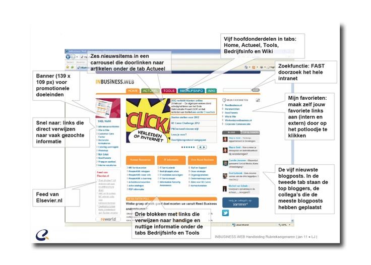 INBUSINESS.WEB | Het intranet van Reed Business Media. Projectmanagement, beheer, content creatie en publicatie, eindredactie, aansturen externe en interne redactie, aanspreekpunt voor gebruikers, statistieken genereren, doorontwikkelingen op het gebied van User Experience, content en CMS initiëren en doorvoeren.