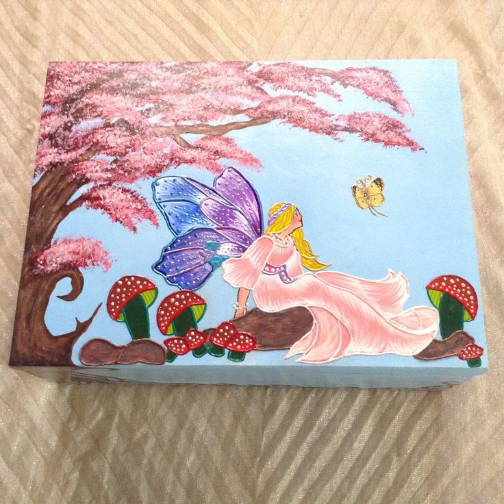 """Fairy painting keepsake large wooden trunk box, customizable name, decorative memory fairy box, """"Morning fairy"""" by EthnicDrops on Etsy https://www.etsy.com/listing/292474803/fairy-painting-keepsake-large-wooden"""