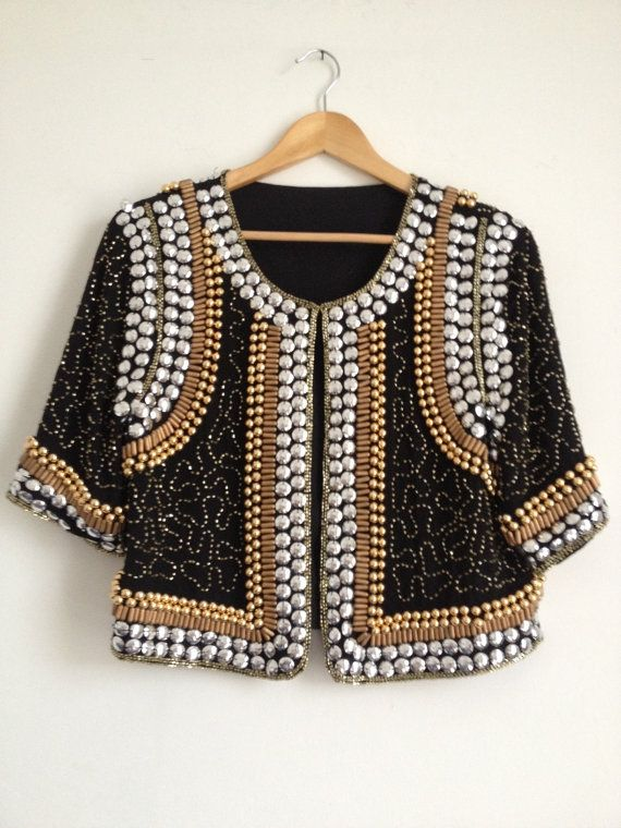 Gold and Silver Sequin Beaded Jacket/ Sequin Jacket/ by Tukvintage, £28.00