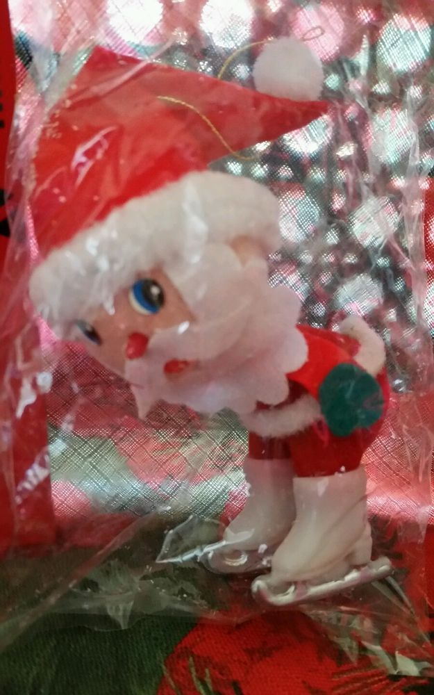 Vintage Mid Century Santa Claus Christmas Ornament Skating NEW in Package MOD  | eBay