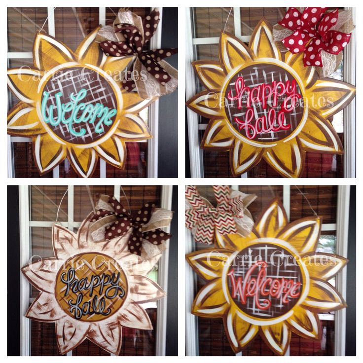 Sunflower Door Hanger $45 (ship anywhere in US) happy Fall y'all, Thankful, Blessed or can be personalized with last name. Perfect for any outdoor fall decor.  www.creationsbycarrieb.com Order on FB @ Carrie Creates