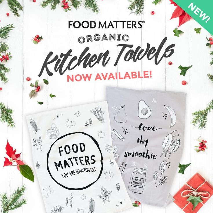 NEW Organic Kitchen Towels Out Now!⠀  With quotes and imagery designed to inspire, they're the perfect addition to any kitchen, giving you a beautiful source of motivation every day! SHOP NOW through this link here! http://bit.ly/FM-Holiday-Shop #foodmatters