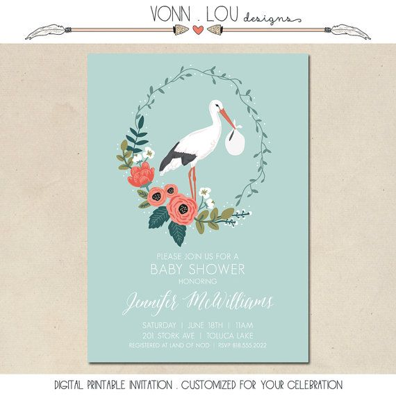 baby shower invitation - stork and flowers invitation - hand illustrated - birth…