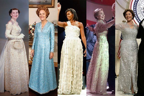 First Ladies Inaugural Gowns L-R( Mamie Eisenhower, Betty Ford, Michelle Obama, Hillary Clinton, Laura Bush,