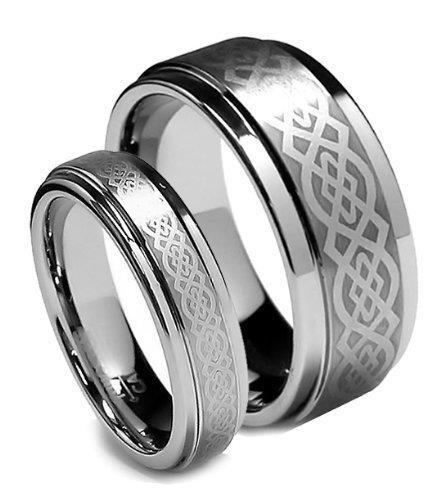 best price 9: Top Value Jewelry - Matching Tungsten Wedding Band Set, His ; Her Celtic Ring Set, Titanium Color, Step High Polish Edge, Men 8MM (size 8-15), Women 5MM (size 5-8) - Half Sizes Available cheap price anniversary rings