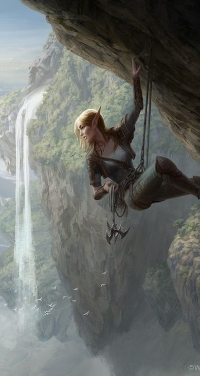 Elven female mountain climbing. MtG Seek the Wilds by depingo on DeviantArt (detail)